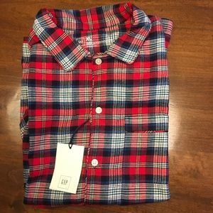 😴NWT😴 Gap Classic Red Plaid flannel P.J. Top